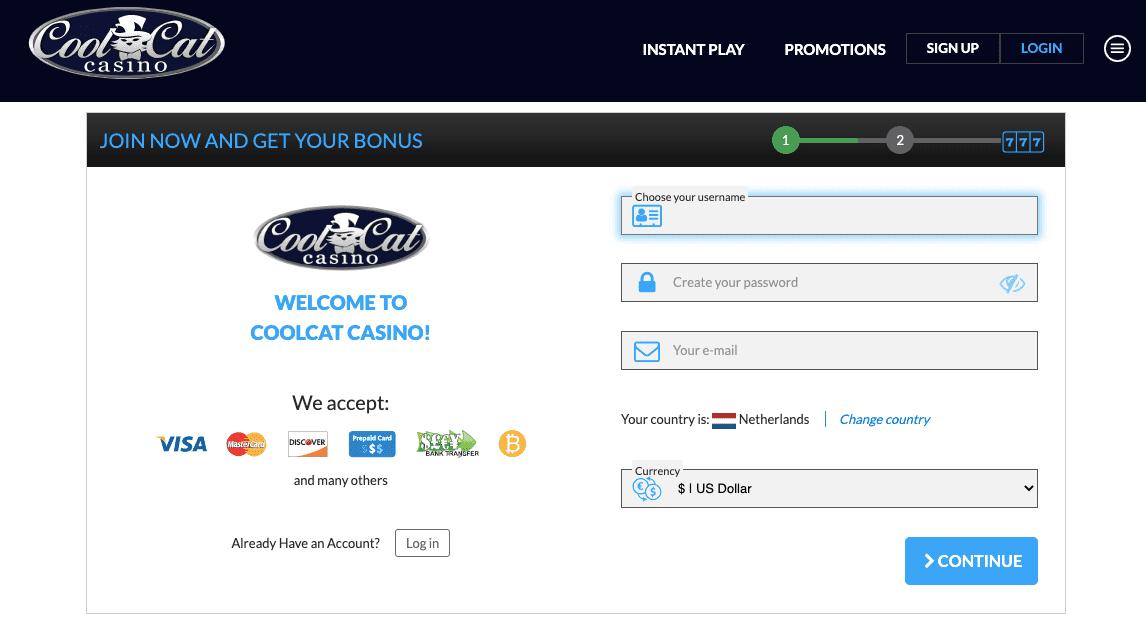 CoolCat login and registration - step 1